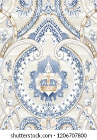 Baroque damask pattern, delicate mechanism, delicate shading, elegant pattern,brown,Gray background