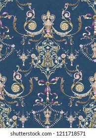 Baroque damask pattern, delicate mechanism, delicate shading, elegant pattern,Green background