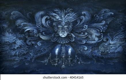 Baroque fantasy. Acrylic on paper.