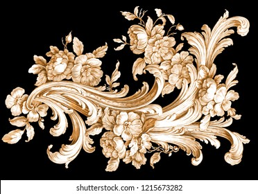 baroque floral ornamental pattern on black backgraund