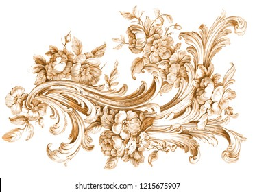 baroque floral ornamental pattern on white backgraund