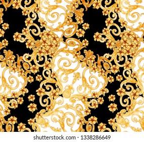 baroque, geometric fabric pattern