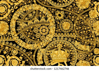 Baroque Gold Black Background Pattern