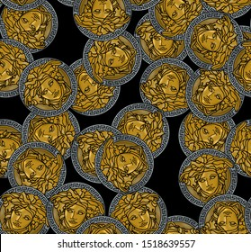 Baroque gold Medusa coin seamless pattern on black background