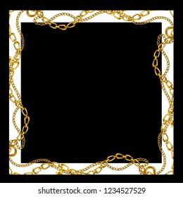 Baroque golden chain background . Scarf Print