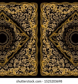 Baroque golden chain background, Scarf Print