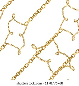 Baroque golden chain  background.Seamless pattern.