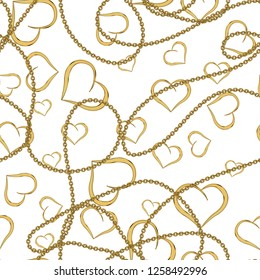 Baroque Golden Chains With Golden Heart Objects, Repeatable and Seamless