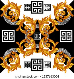 baroque with greek luxury ornament design Textured geometric seamless pattern