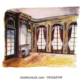 Baroque hall, hand drawn watercolor illustration