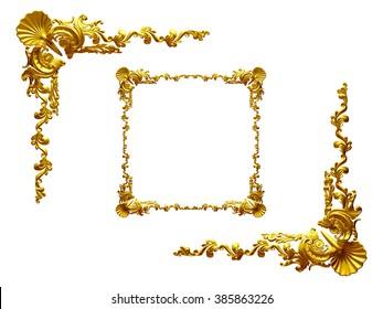 baroque, ornamental Frame elements, ninety degree corner in gold