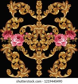 Baroque pattern.Flowers print for textile wallpaper, golden, roses