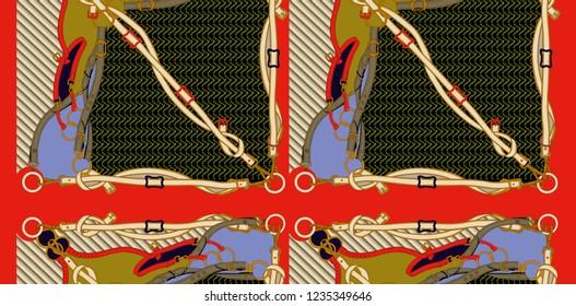 baroque red belt chain