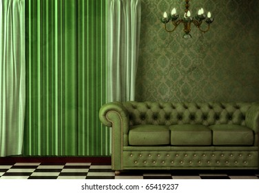 Baroque, Rococo inspired vintage interior featuring a chandelier and green leather sofa.