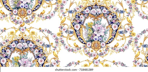 Baroque seamless pattern with garlands of roses and bouquet  with white tulip