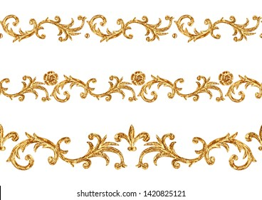 Baroque style golden ornamental segments seamless pattern. Hand drawn gold border frame with scrolls, leaves and elements on white background. Vintage design collection.