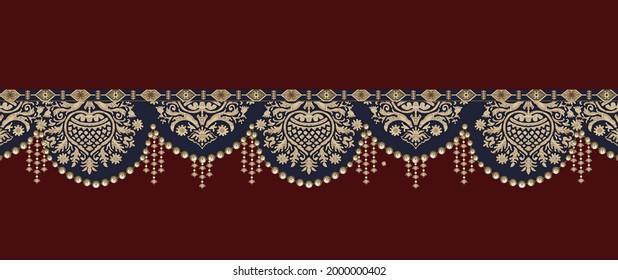 Baroque Vintage Elemente Design Stil.Design für Cover, Stoff, Textilien, Illustrationen handgefertigte Kunstwerke. Geometrisches, florales digitales Textildesign und abstrakte Illustrationen für Textilien