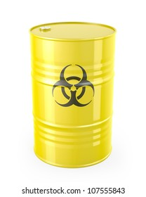 Barrel with biohazard symbol, isolated on white background