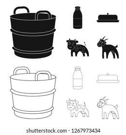 A barrel of milk, butter, a cow. Milk set collection icons in black,outline style bitmap symbol stock illustration web.