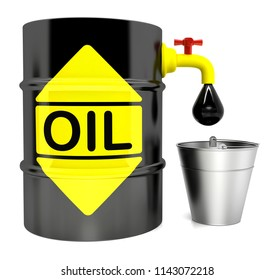A barrel of oil with a crane,3D illustration