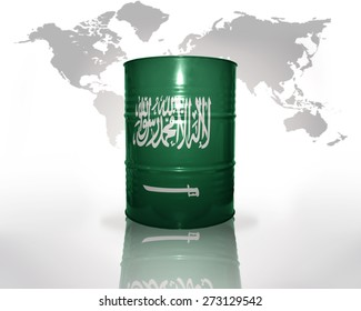 barrel with saudi arabia flag on the world map background