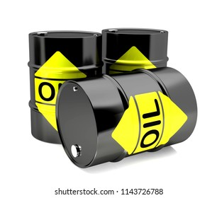 Barrels with oil on a white background,3D illustration