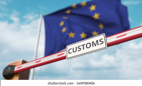 Barrier gate with CUSTOMS sign being closed with flag of the EU as a background. European Border closure or protective tariffs. 3D rendering