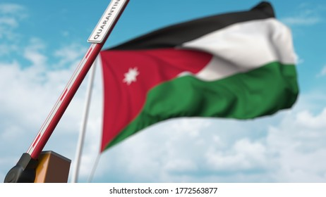 Barrier gate with quarantine sign being open with flag of jordan as a background. jordanian unrestricted entry.  3D rendering
