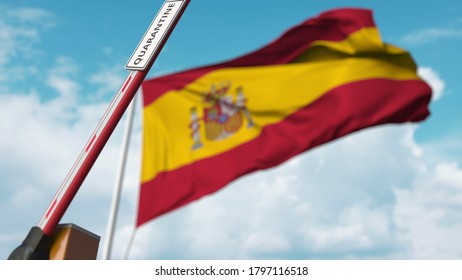 Barrier gate with quarantine sign being open with flag of spain as a background. spanish unrestricted entry.  3D rendering