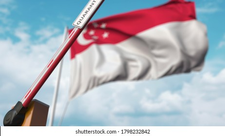 Barrier gate with quarantine sign being open with flag of singapore as a background. singaporean unrestricted entry.  3D rendering