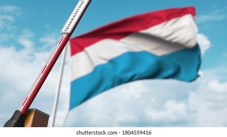 Barrier gate with quarantine sign being open with flag of luxembourg as a background. luxembourgian unrestricted entry.  3D rendering