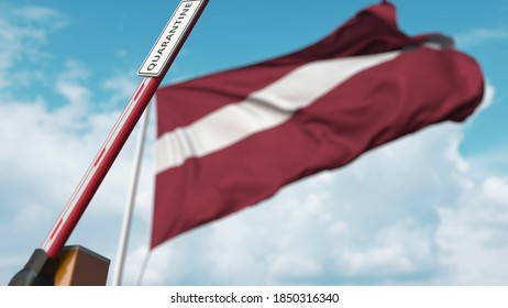 Barrier gate with quarantine sign being open with flag of latvia as a background. latvian unrestricted entry.  3D rendering