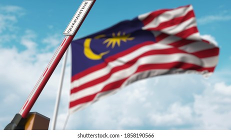 Barrier gate with quarantine sign being open with flag of malaysia as a background. malaysian unrestricted entry.  3D rendering