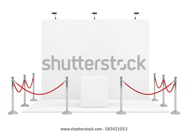 Barrier Rope Around Trade Show Booth with Empty Stand on a white background. 3d Rendering.