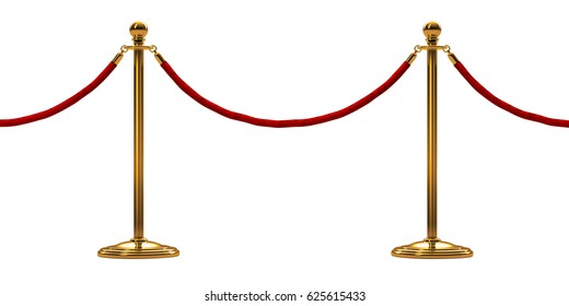 barrier rope isolated on white. Gold.  Luxury, VIP concept.. 3d render