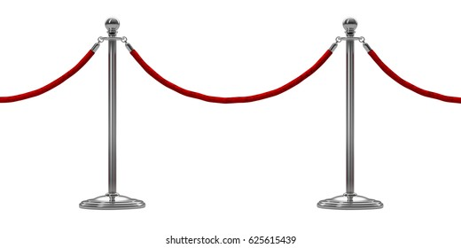 barrier rope isolated on white. Silver.  Luxury, VIP concept.. 3d render