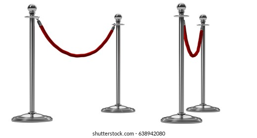 barrier rope isolated on white. Silver or chrome steel pole with red fence.  Perspective view. Luxury, VIP concept.. Equipment for events. 3d render
