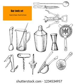 Bartender equipment for making cocktail.Hand drawn illustration.Bar tools. Bar accessories.Stirring spoon, knife,juicer,muddler,pitcher,jigger,strainer,shaker,wine opener.