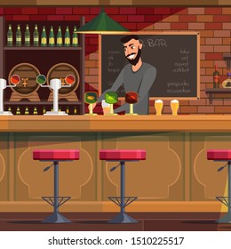 Bartender working in pub flat illustration. Smiling cheerful barman pouring beer in glass. Restaurant, bar staff. Cafe employee cartoon character. Man at bar counter serving customers. Raster copy