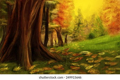 The base of a huge tree, glade. Digital sketch.