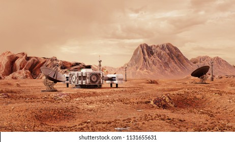 base on Mars, first colonization, martian colony in desert landscape on the red planet (3d space illustration)