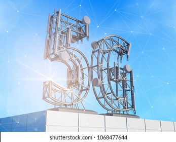 Base station antenna for mobile communication, made in the form of a 5G symbol, on the roof of the building. 3d illustration.
