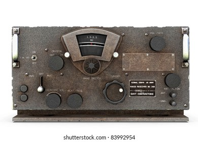 Base station World War II United States Army Signal  Corps Radio receiver and Transmitter  chipped. Original illustration on clean white background. Clip art or cutout
