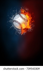 Baseball ball exploding by elements fire and water. Background for sports tournament poster or placard. Vertical design with copy space.