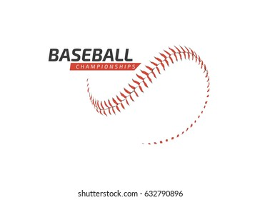 Baseball ball logo abstract red on white - Championship - Sports baseball competition