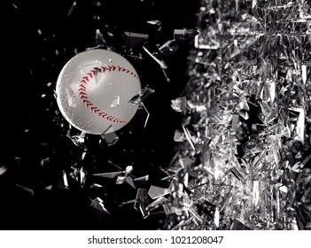 Baseball ball in motion breaking the glass.Concept of action and strength in team sport