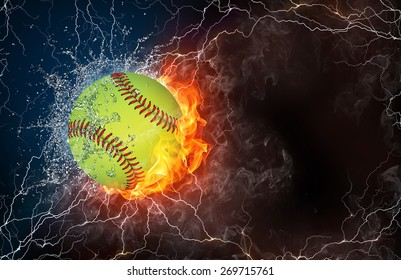 Baseball ball on fire and water with lightening around on black background. Horizontal layout with text space.