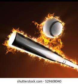 baseball bat and ball in fire, 3D illustration