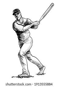 Baseball batter. Ink black and white drawing