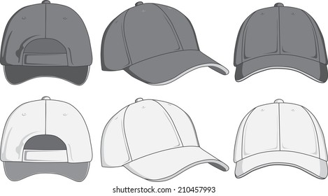 Baseball cap, front, back and side view.